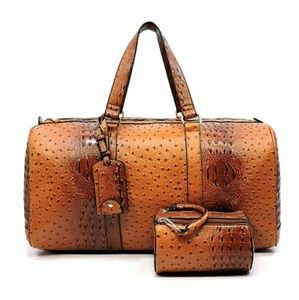 Other - Ostrich Croc 2-in-1 Duffle & Travel Case Set